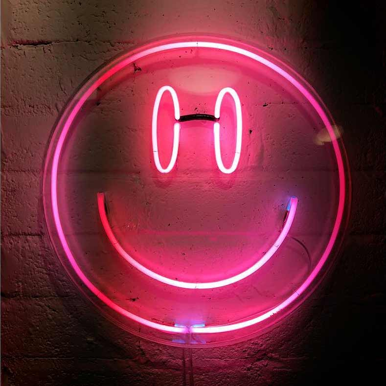 Pink Neon Smiley By Neon Artist Andy Doig, Ready To Hang