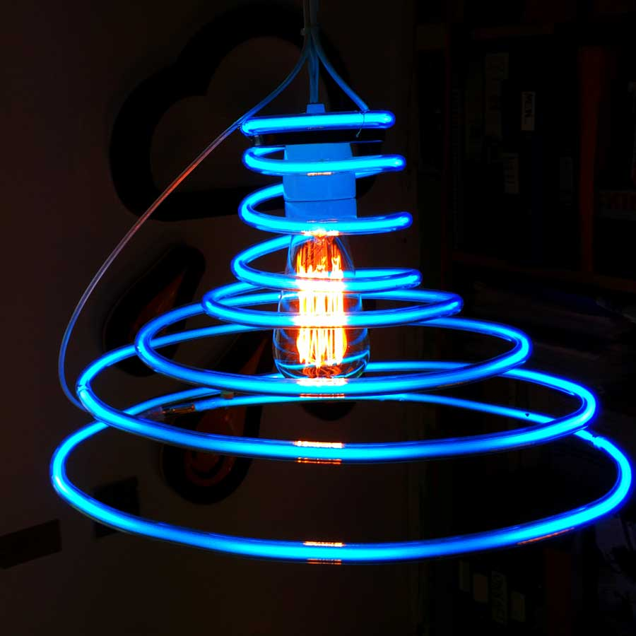 Blue Neon Tornado Light Shade