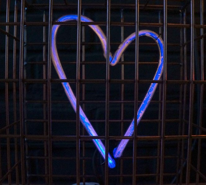 Caged Amorphous Blue Neon Heart