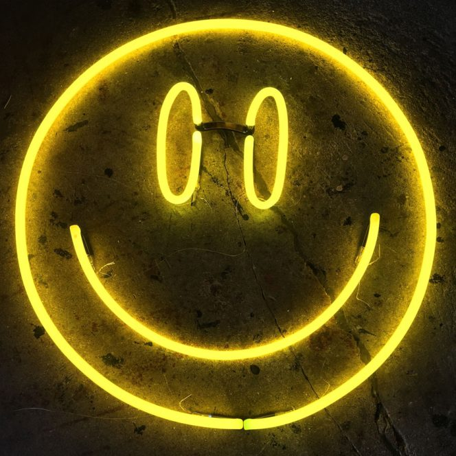 Neon Yellow Smiley by Andy Doig