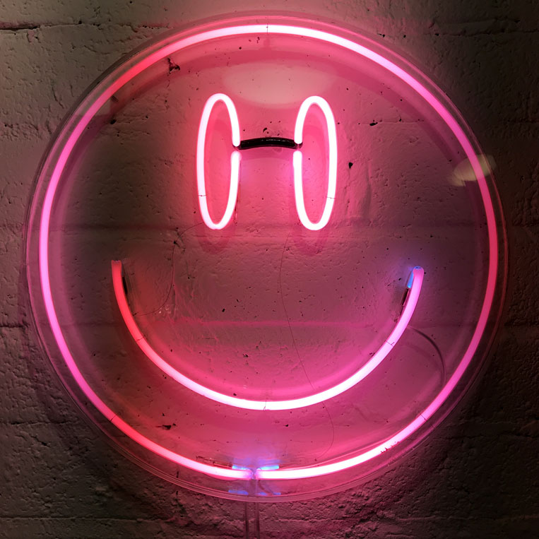 Pink Neon Smiley by Andy Doig