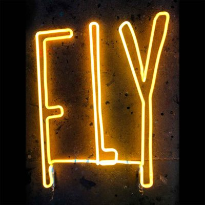 Fly Gold Neon Lettering